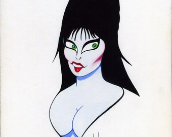 Elvira Cassandra Peterson original acrylic painting for LAUGH FACTORY magazine by Dave Woodman