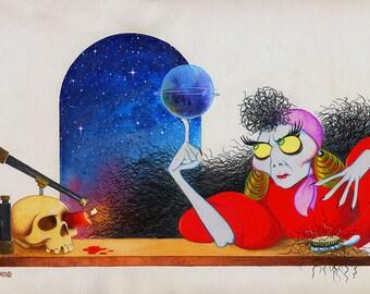 Astrology Gypsy original acrylic painting by Disney Artist Dave Woodman