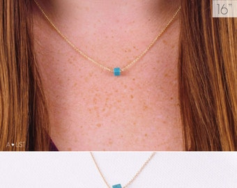 Simple Turquoise Necklace / Dainty Turquoise Cube Necklace / Turquoise Smooth Cube / Tiny Cube Turquoise Necklace / Layering Necklace