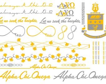 Sorority Temporary Tattoos / Alpha Chi Omega Metallic Tattoos / AXO Metallic Jewelry Temporary Tattoos / Sorority Jewelry / Alpha Chi Gifts
