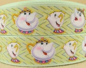"3 Yards 1"" Mrs Pots-Princess Belle's Movie-Inspired Grosgrain Ribbon-hair bow Supply-Girls-Supply-Craft-Disney Movie"