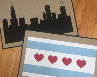 Chicago Indoor / Outdoor Door mats, Chicago Skyline Art or Chicago Flag Doormat by Be There in Five
