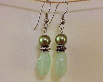 green glass and pearl drops
