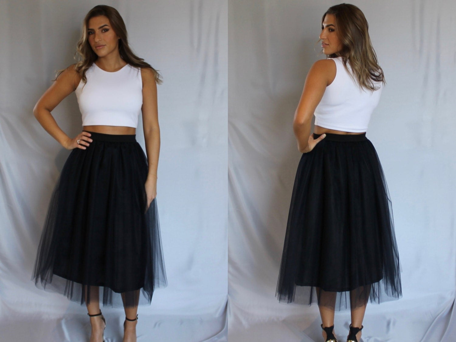 tulle skirt black tulle skirt tea length tulle skirt midi