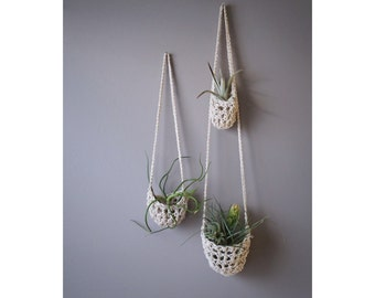 Hanging Planter, Boho Decor, Air Plant Holder, Hanging Tillandsia Pod, Vertical Garden, Air Plant Pod, Cotton Plant Hanger, Air Plant Basket