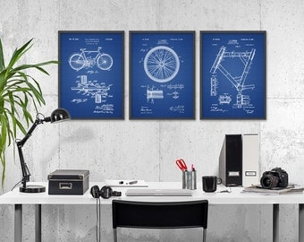 Bicycle Patent Prints Set of 3 - Bicycle Wall Art Posters - Cyclist Gift Idea - Cycling Wall Art - Pedal - Wheel - Frame