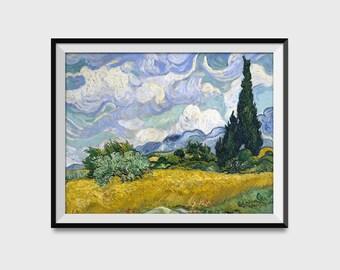 Wheat Field Print - Farming Decor - Farming Wall Art - Wheat Field With Cypresses Vincent van Gogh - Giclee Print - Fine Art Reproduction