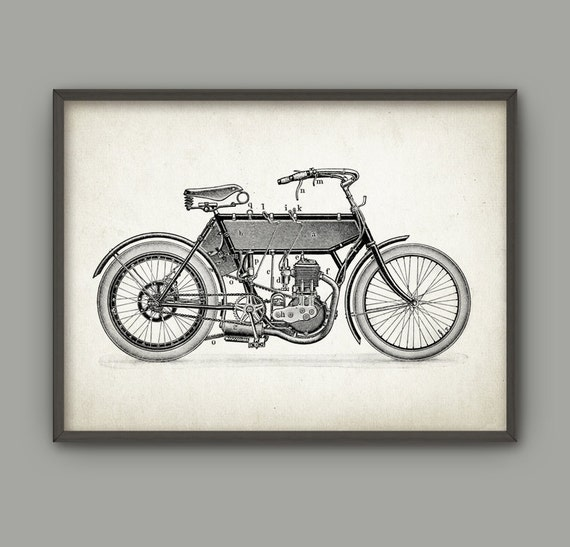 vintage motorcycle print motorcycle home decor. Black Bedroom Furniture Sets. Home Design Ideas