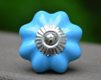 Blue ceramic knob/melon knob/cabinet knob/drawer pull/dresser handle/door/decorative/unique/bedroom/kitchen knob/baby nursery/childrens knob