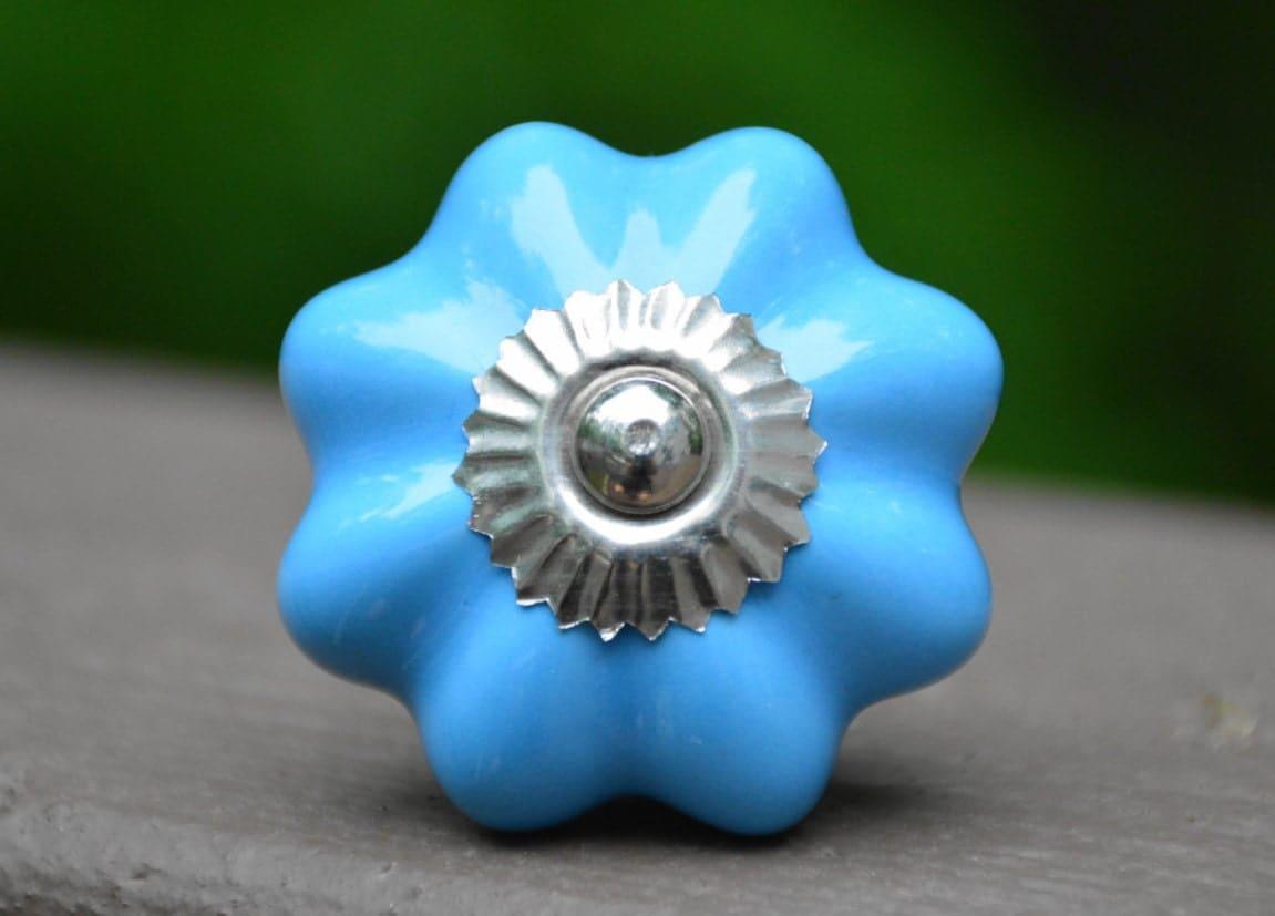Blue ceramic knob melon knob cabinet knob drawer pull for Children s bureau knobs