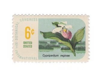 1969 6c Botanical Congress - Ladys Slipper - 10 Unused Vintage Postage Stamps - Item No. 1377