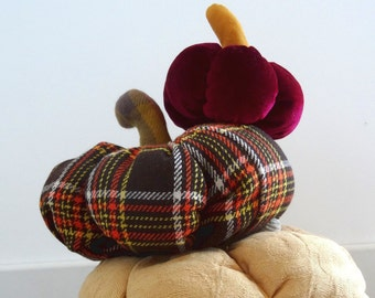 Small Plush Fabric Pumpkin in Red Velvet * LUXE* Halloween, thanksgiving Fall Autumn Decor