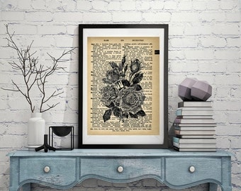 Roses - Vintage Dictionary Page Art Print