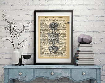Beautiful Skeleton - Vintage Dictionary Page Art Print