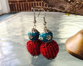 Turquoise and Red Beaded Earrings