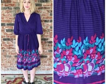 Vintage 70s Purple Pinstripes and Floral Print Wrap Top Dress