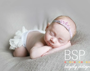 Stunning Tiara Headband/4 COLOR CHOICES/On Silver Elastic Band OR Any Color of Your Choice/Photo Prop/Newborn/Infant Headband/Birthdays
