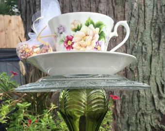 Teacup Bird Feeder made from teacup collectables and recycled glass