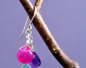 3 Gemstone Drop Earrings (purple+pink+green)