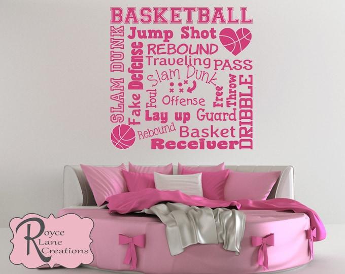 Basketball Wall Decal -Basketball Word Art 2 for Girls- Basketball Decal- Basketball Decor-Basketball Wall Decor-Basketball Art