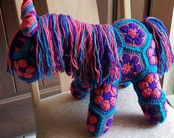 Pony - Fatty Lumpkin Crochet Stuffed Animal. Great gift for any Horse lover, Heidi Bears, African Flower Motif, Baby Shower gift