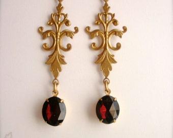 Garnet Rhinestones Chandelier Earrings, Long Dangle Garnet Red Earrings, Chandelier Earrings, Vintage Style Earrings, Romantic Gift for Her