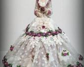 Porcelain Half Doll-Pincushion Doll-Dresser Doll-Fashion Art Doll-Collectible Miniature Doll-Boudoir Doll-Original Artist Design-Unique