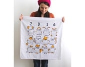 2016 Screen Printed Animal Calendar Tea Towel. Silkscreen. Cute. Hand Printed. New Year's.