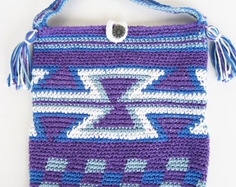 purple pouch, mochila style pouch, purple and blue bag, Colombian style, i-Pad bag, hourglass design, bag with tassles
