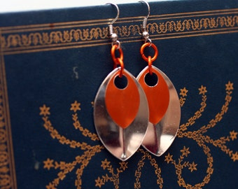 Orange and Silver Scalemaille Earrings