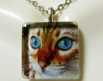 Bengal cat pendant and chain - CGP01-067