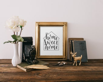 "Home Sweet Home print - hand drawn lettering/typography 8""x10"" print"
