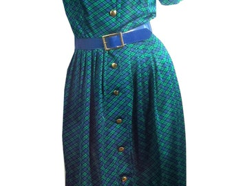vintage 1960s Pretty Preppy Green and Blue Plaid Jersey Nylon Dress S
