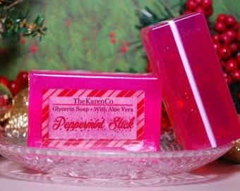 Peppermint Stick, Glycerin Soap, Aloe Vera Soap, Holiday Soap, Christmas Soap, Candy Cane Soap, Aloe Vera and Olive Oil