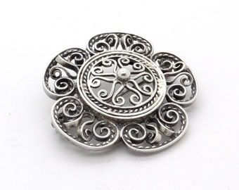 Antique Silver Filigree Brooch - Large Sterling Silver Eglantine Rose Brooch, Wild Rose Flower Brooch, Catholic Jewellery, Edwardian Jewelry