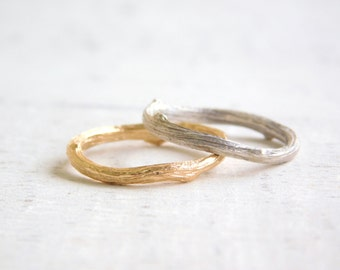 Gold Twig Ring, Twig Wedding Band, Gold Branch Ring, Silver Twig Jewelry, Gold Stacking Rings, Unique Wedding Bands, Nature Inspired Ring,
