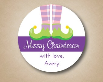 Holiday Gift Stickers Christmas Gift Labels Pink Purple Girl Elf Feet Christmas Gift Tags Girls Christmas Party Favor Labels Custom Holiday