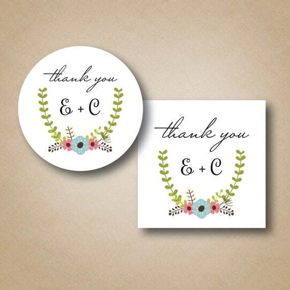 labels custom favor tags floral laurel sticker favor labels wedding