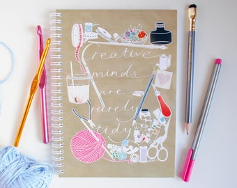 Creative Minds are Rarely Tidy notebook –bullet journal –paper cut notebook – HolmesMade – kraft jotter – creative gift –gift for friend