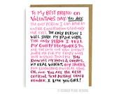 Valentine For My Best Friend. Funny Valentine Card. Card for Her. Friend Valentine. Joke Valentine. Honest Valentine. Single Valentine Card.
