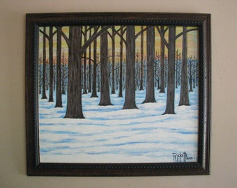 FOREST SNOW 2 - Original Acrylic Painting Framed 22x19 No. 469