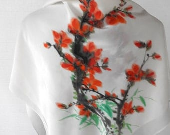 Vintage 80s Silk Scarf Japanese Do Not Adjust Your Set Watercolor Cherry Blossoms Flowering Quince Floral Large Wrap Scarf Square White OOAK