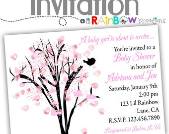 822: DIY - Pink Blossom Tree Party Invitation Or Thank You Card