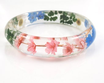 Resin  Bracelet Size XL - Real Flower Resin Bracelet,Pressed flower Bracelet, Bangle Bracelet, Chunky bangle, Botanical jewelry