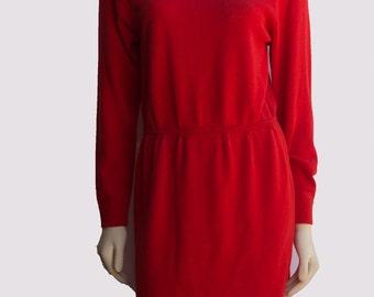 80's Vintage St. John Red Santana Knit Long Sleeve Grommet Applique Shift Dress