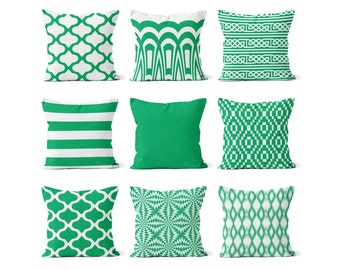 Decorative Pillow Cover, Green and White Pillows, Green Pillow Covers, Green Throw Pillows,Cushion Cover, Euro Sham Cover Decorative Pillows