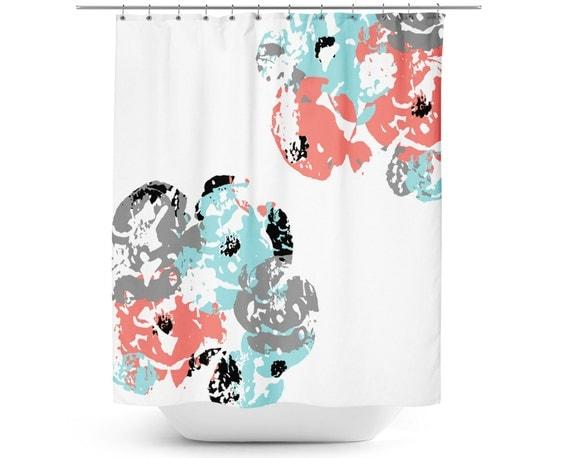 Shower Curtain Floral Bath Curtain Coral Aqua Grey White