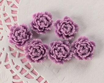 6 Pcs Lavender Purple Intricate Peony Flower Cabochons - 24x24mm