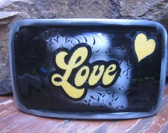 Belt buckles Love etched belt buckle yellow & black accessories heart belt buckle rectangle bohemian belt buckle embellished belt buckle