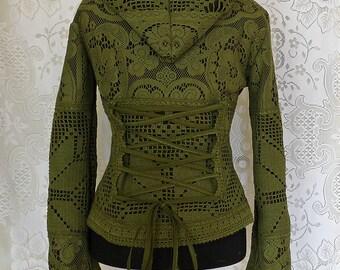 Sale!!SHORT CARDIGAN JACKET cardigan fleece crochet gypsy Steampunk Pixie hippie